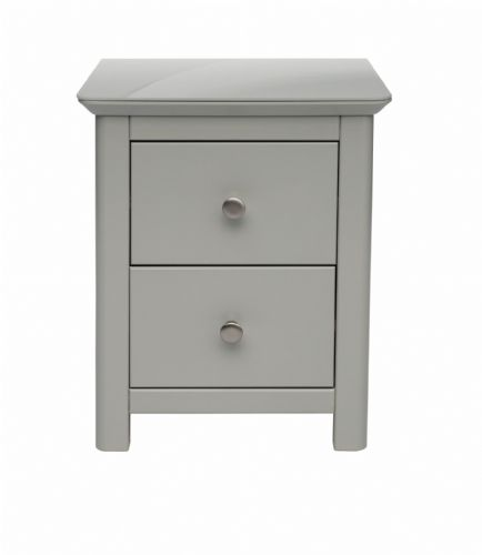 Elgin Grey and Glass 2 Drawer Bedside